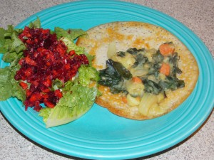 Dosas with kale, carrots and potatoes and raw beet and carrot salad