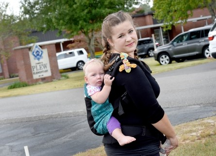 Maegan Shoemaker and daugther Arya. Photo by NICK TOMECEK | Daily News