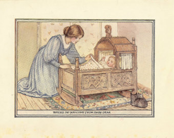 Antique cradle mother baby print